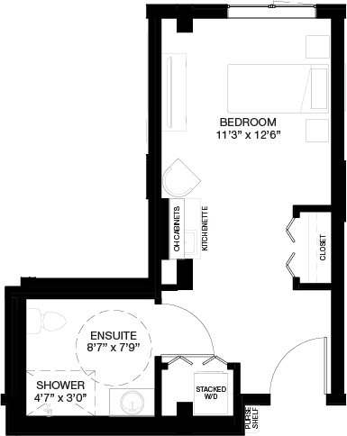400-420 SF SUPPORTIVE STUDIO_(Assisted Living Dementia Care)