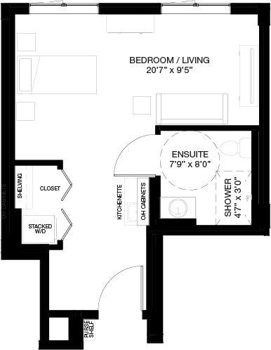 450 SF SUPPORTIVE STUDIO_(Assisted Living Dementia Care)