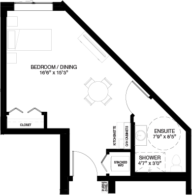 470 SF SUPPORTIVE STUDIO_(Assisted Living Dementia Care)