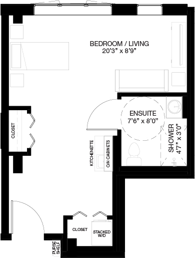 480 SF SUPPORTIVE STUDIO_(Assisted Living Dementia Care)