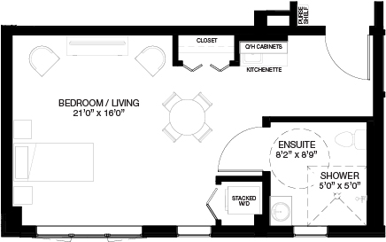 500 SF SUPPORTIVE STUDIO_(Assisted Living Dementia Care)