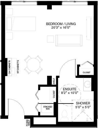 560 SF SUPPORTIVE STUDIO_(Assisted Living Dementia Care)
