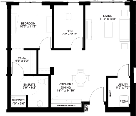 873 SF 1 BEDROOM WITH DEN_(Assisted Living Dementia Care)